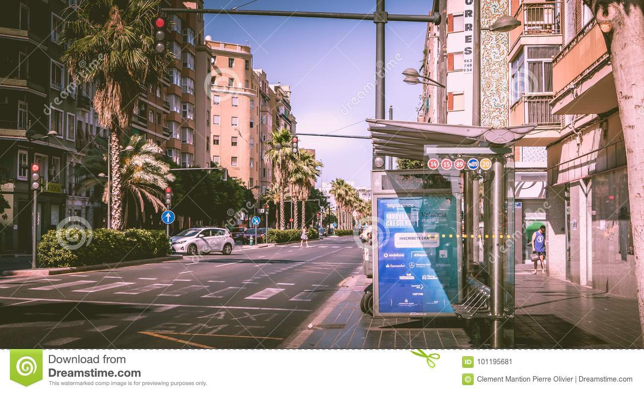 Bus stop of EMT company in a street
