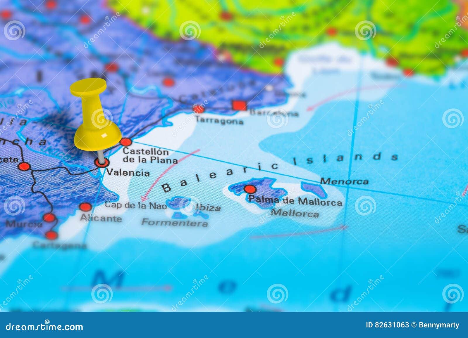 Valencia Spain Karte Stockbild Bild Von Festgesteckt 82631063