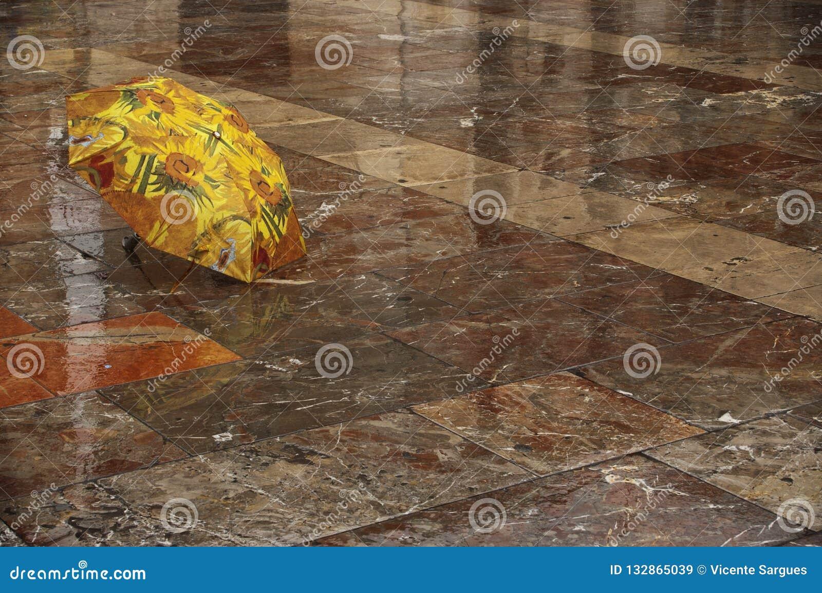 Umbrella on the wet floor