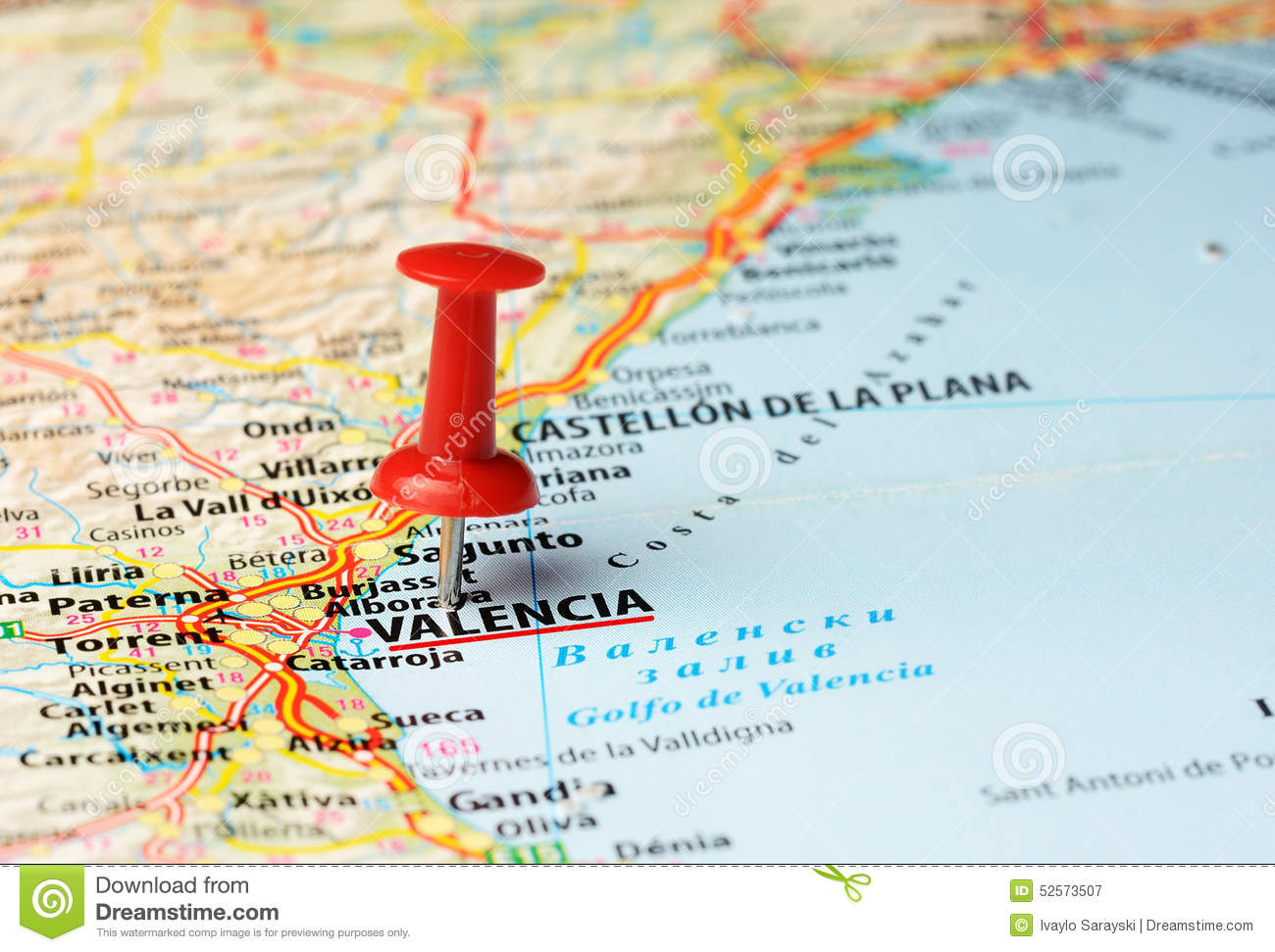 Map Of Spain Valencia.Valencia Spain Map Stock Image Image Of Pushpin Country 52573507