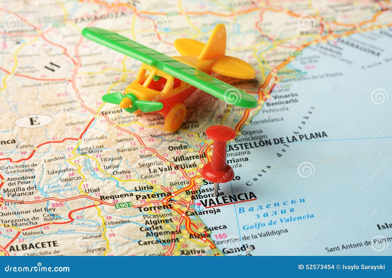 Valencia Map Of Spain.Valencia Spain Map Flight Stock Photo Image Of City 52573454