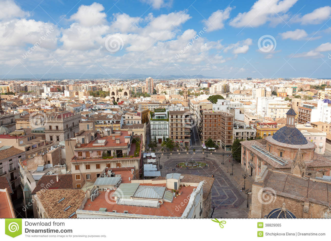 View of the historical center of Valencia, Spain.