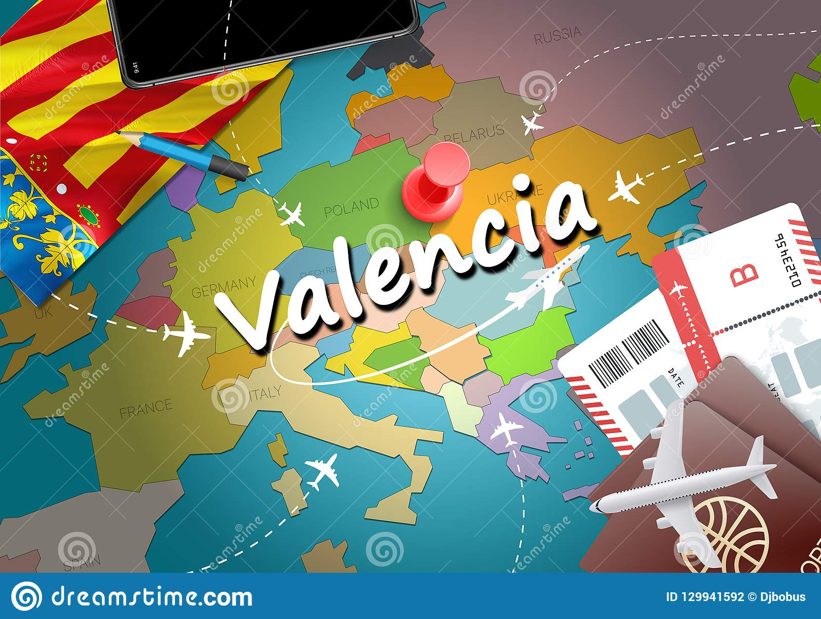 Valencia Map Of Spain.Valencia Travel Concept Map Background With Planes Tickets Visit