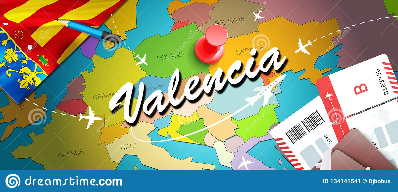 Map Of Spain Valencia.Valencia Travel Concept Map Background With Planes Tickets Visit
