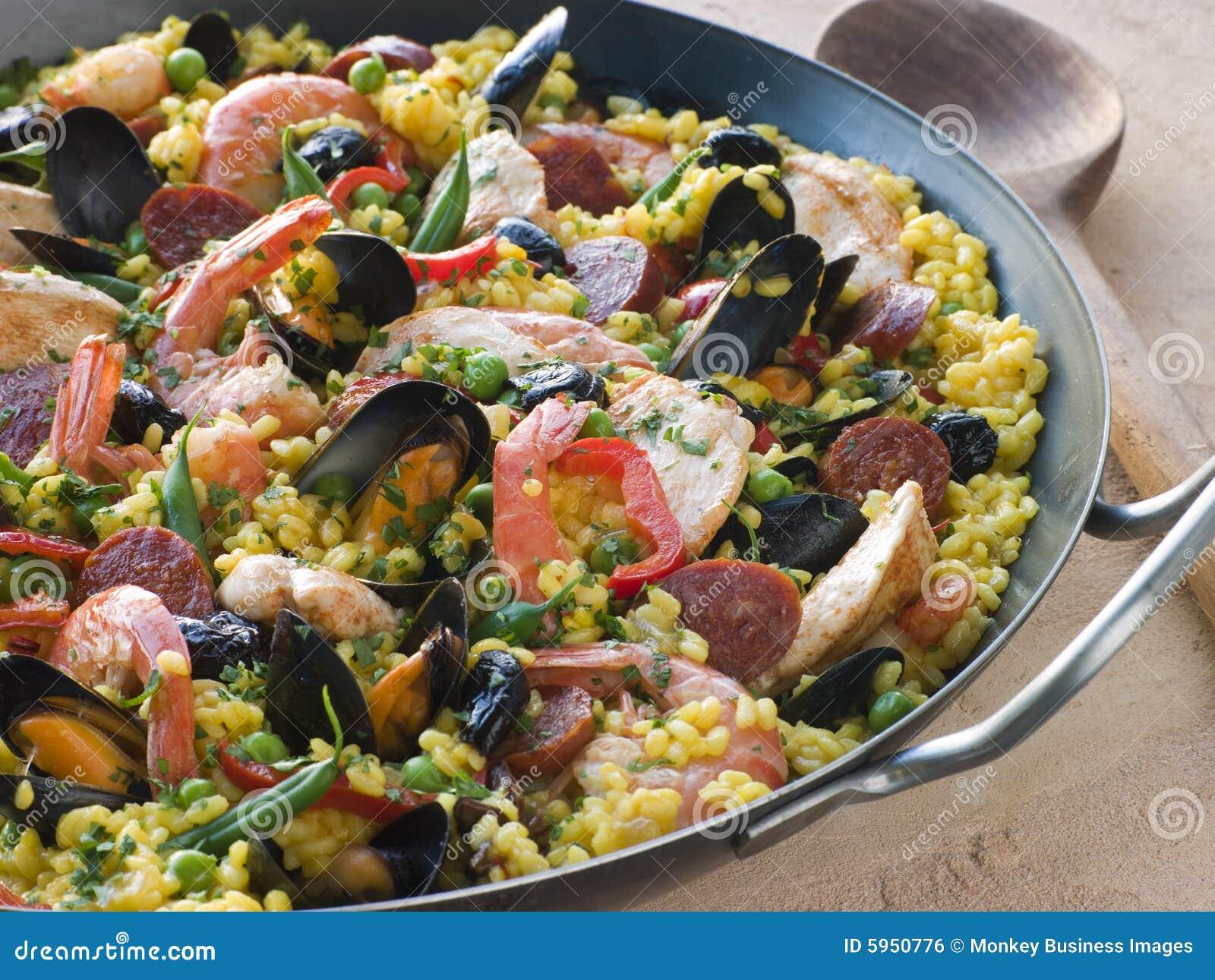 Valencian Paella In A Paella Pan Stock Photo - Image of ...