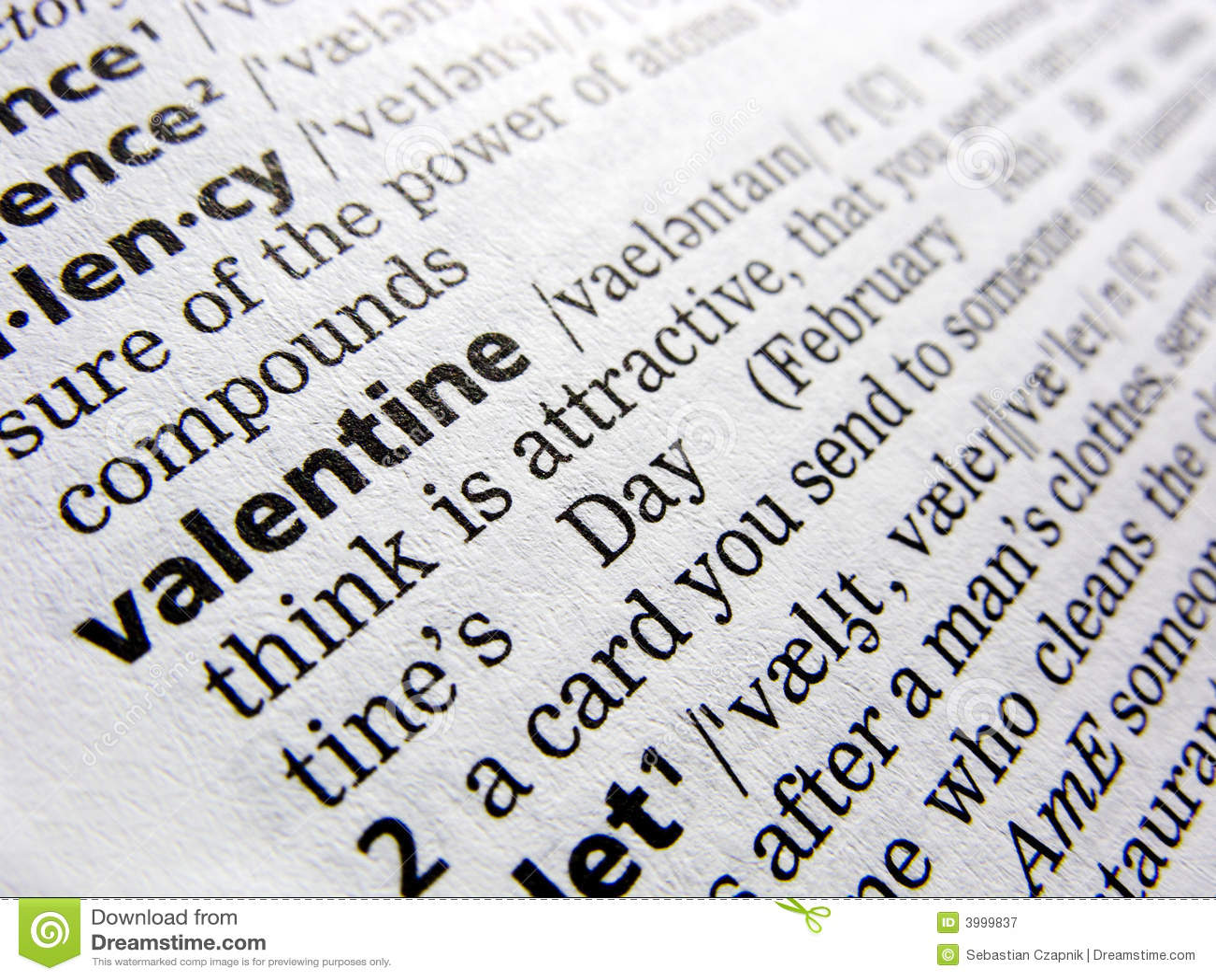 Valentijnskaart in woordenboek