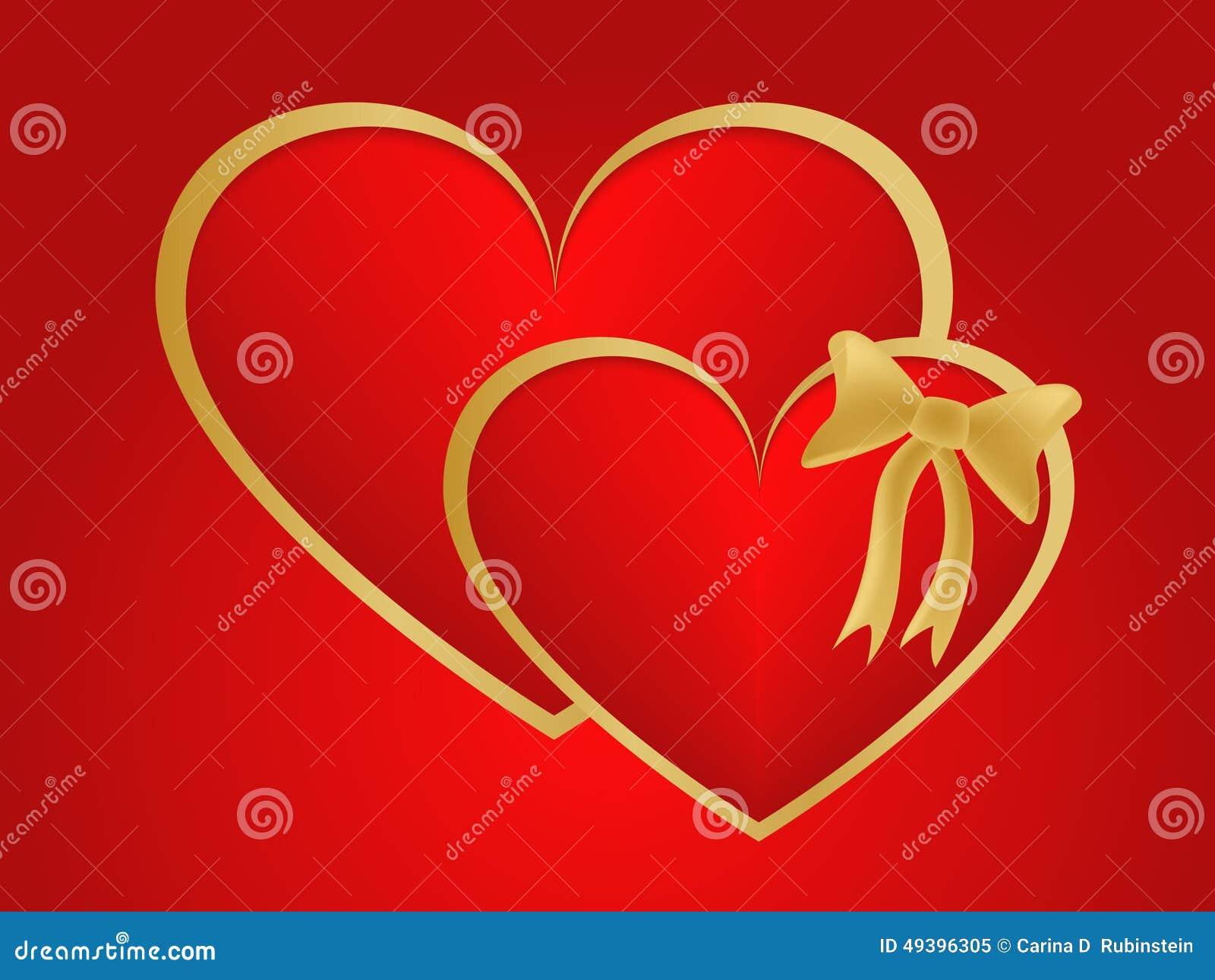 Valentijnskaarten tweeling gouden harten