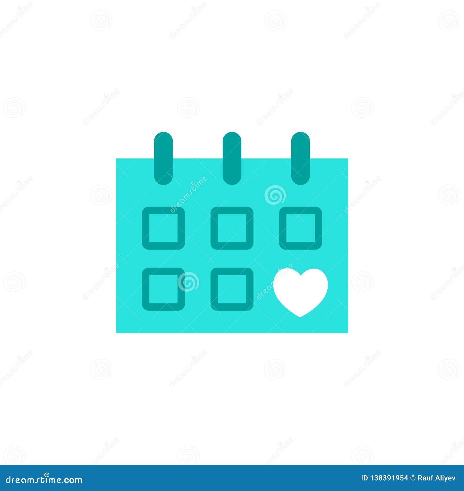Valentijnskaartendag, kalenderpictogram Element van de dagpictogram van Webvalentine voor mobiele concept en webtoepassingen Gede