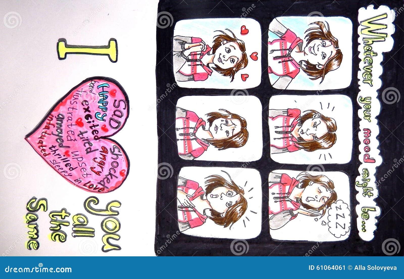 Valentijnskaartenkaart - wat er ook uw stemming zou kunnen zijn