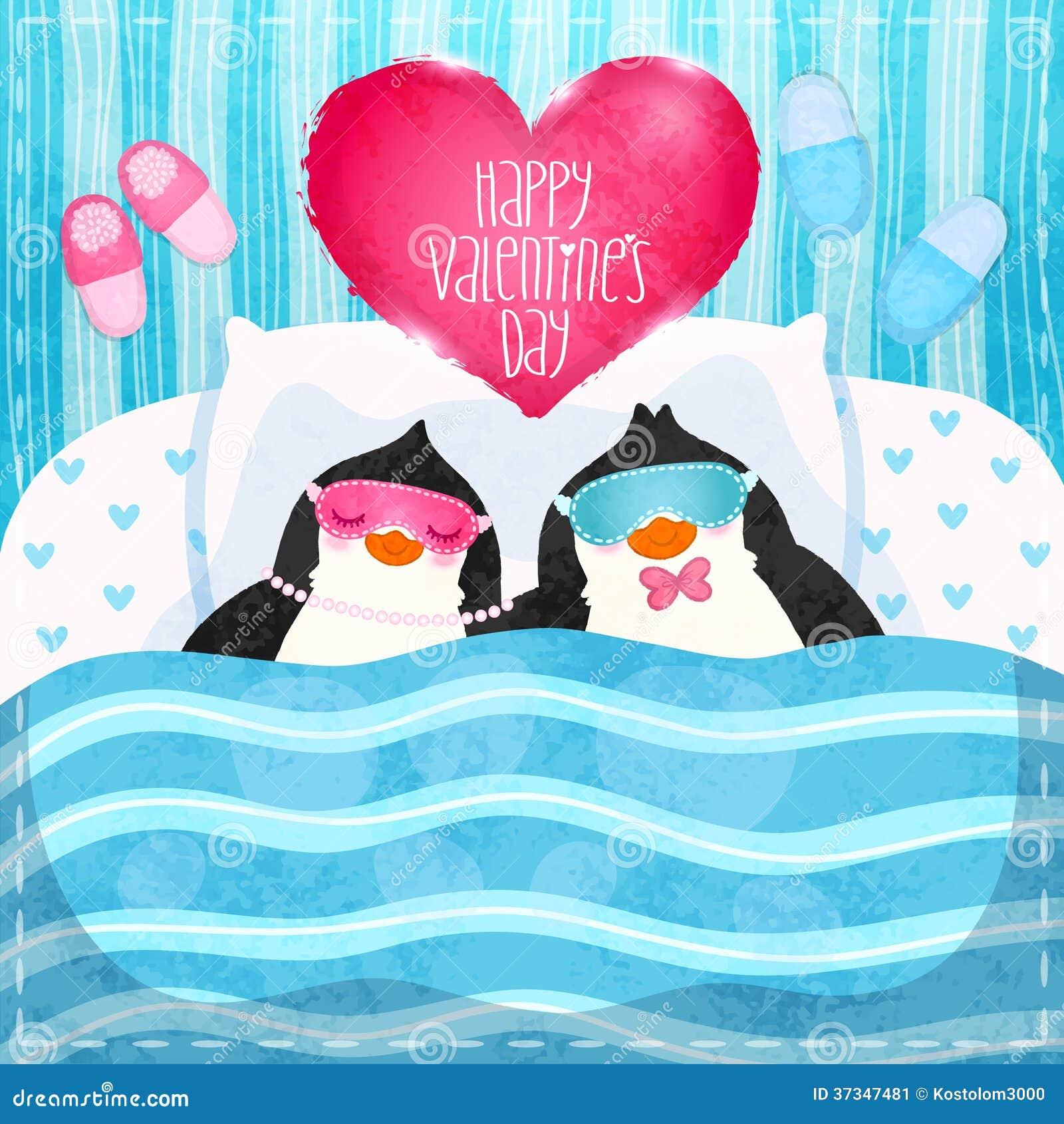 Valentin card med gullig tecknad filmpenguine