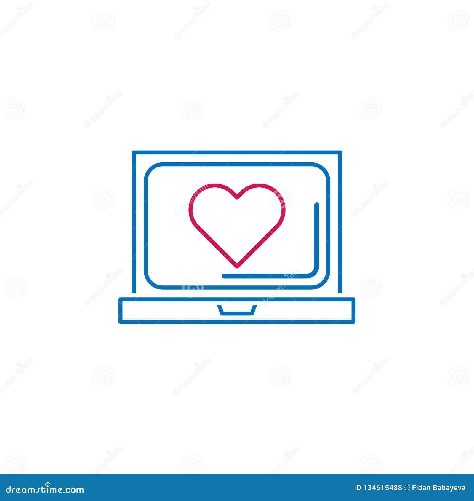 Valentin dag, bärbar dator, hjärtasymbol Kan användas för rengöringsduken, logoen, den mobila appen, UI, UX