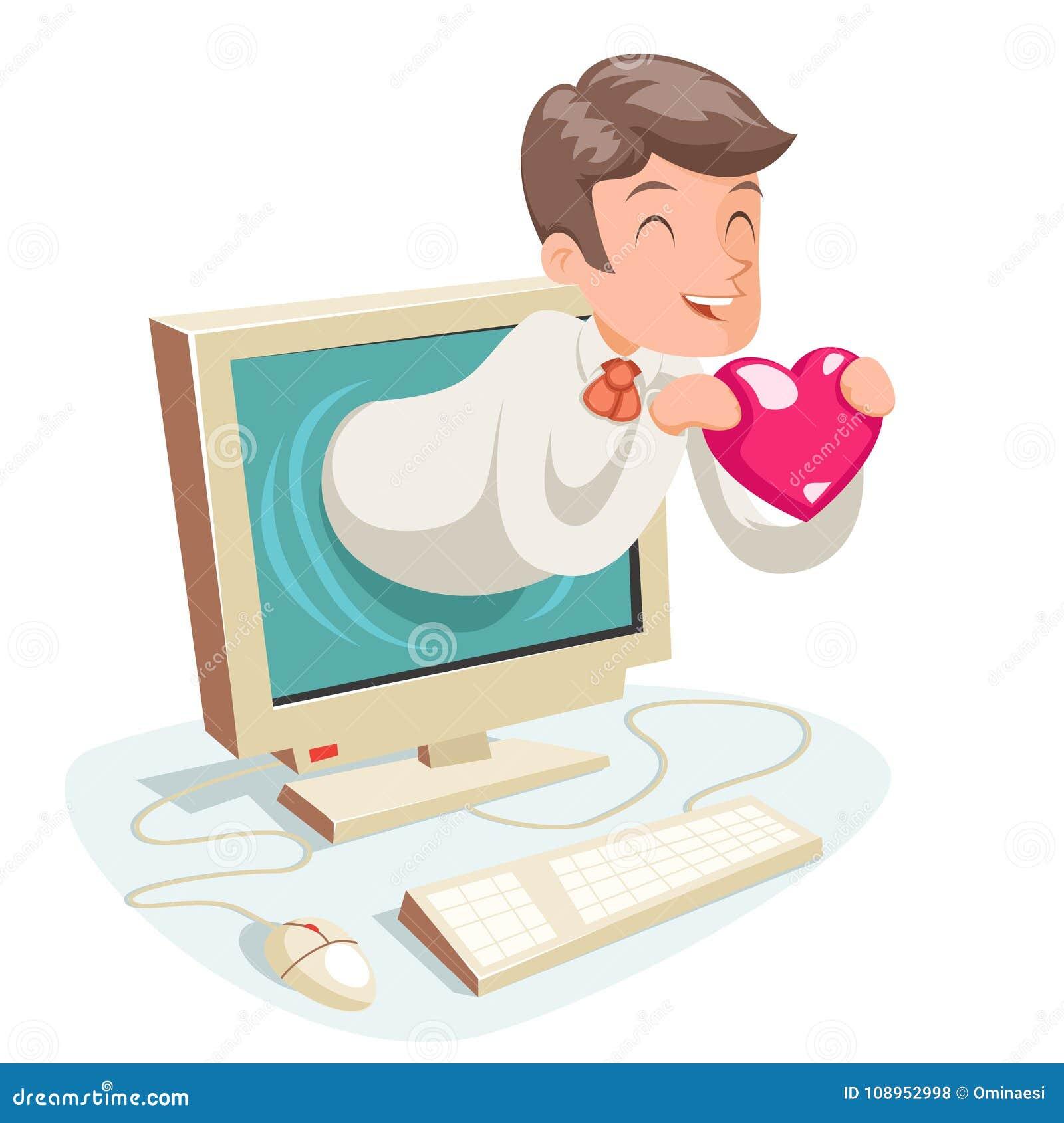 Valentin Day Internet Cute Happy-van de het Achtergrond hartmonitor van Zakenmanhold greeting love de Vector van het Beeldverhaal