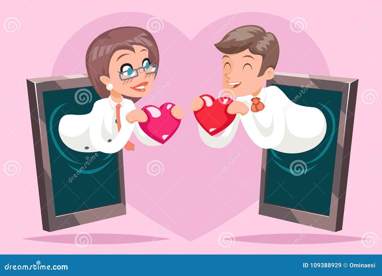 Valentin Day Internet Cute Happy-van de het Hart Mobiel Telefoon van Hold Greeting Love van de Onderneemsterzakenman Beeldverhaal