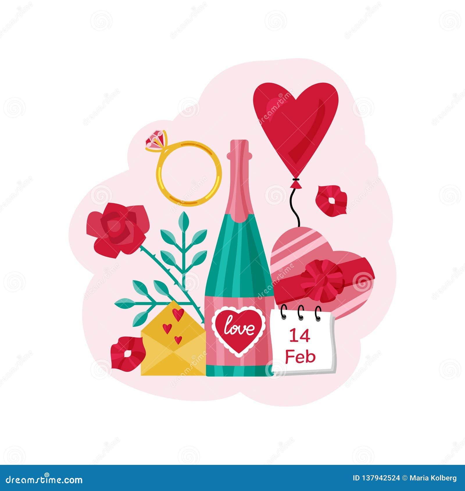 Valentin för dagvykort s En flaska av champagne, valentin, hjärta, ballong, godis och kyssar