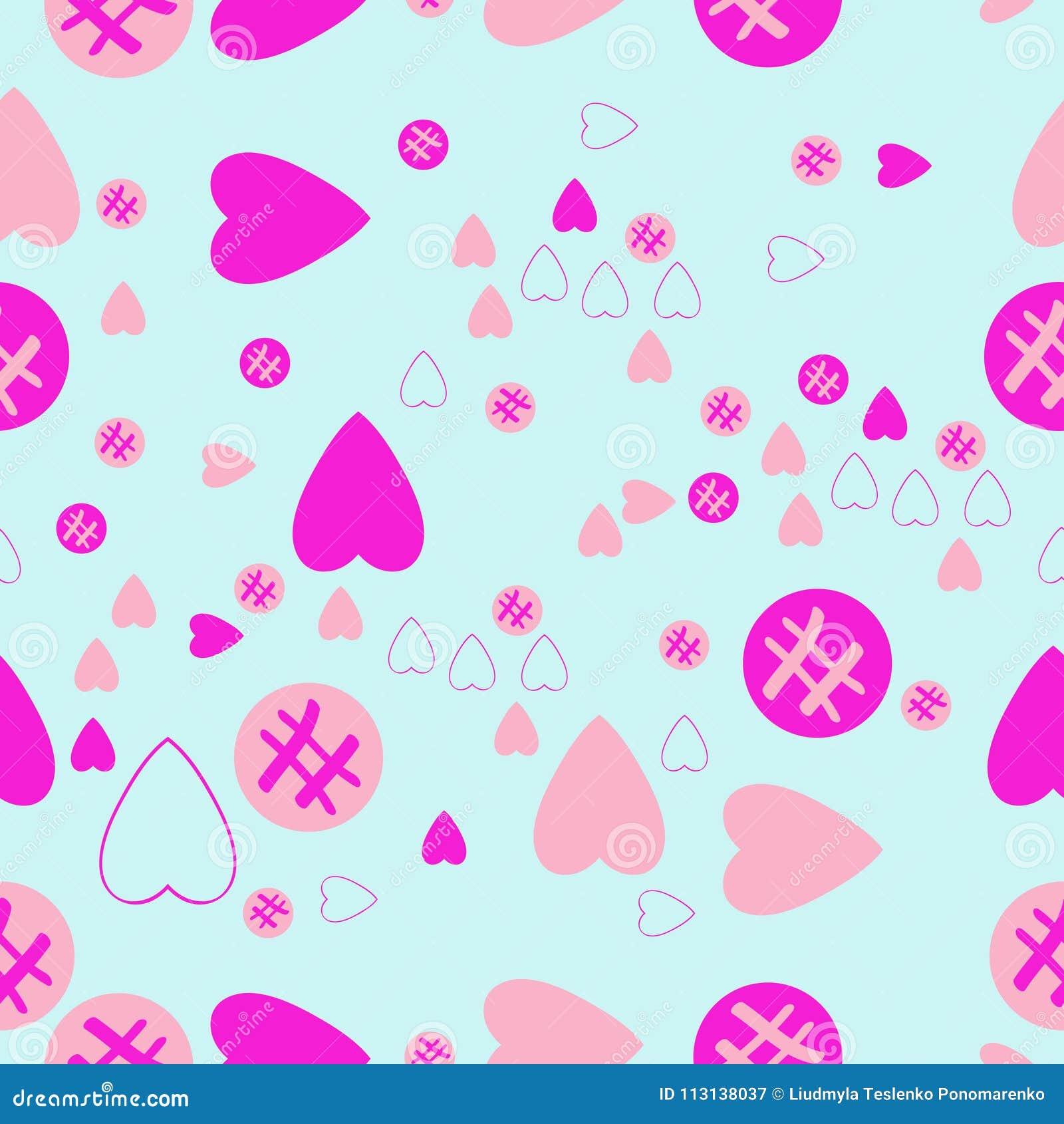 Valentin naadloos patroon, harten, ellipsengekrabbel Getrokken hand