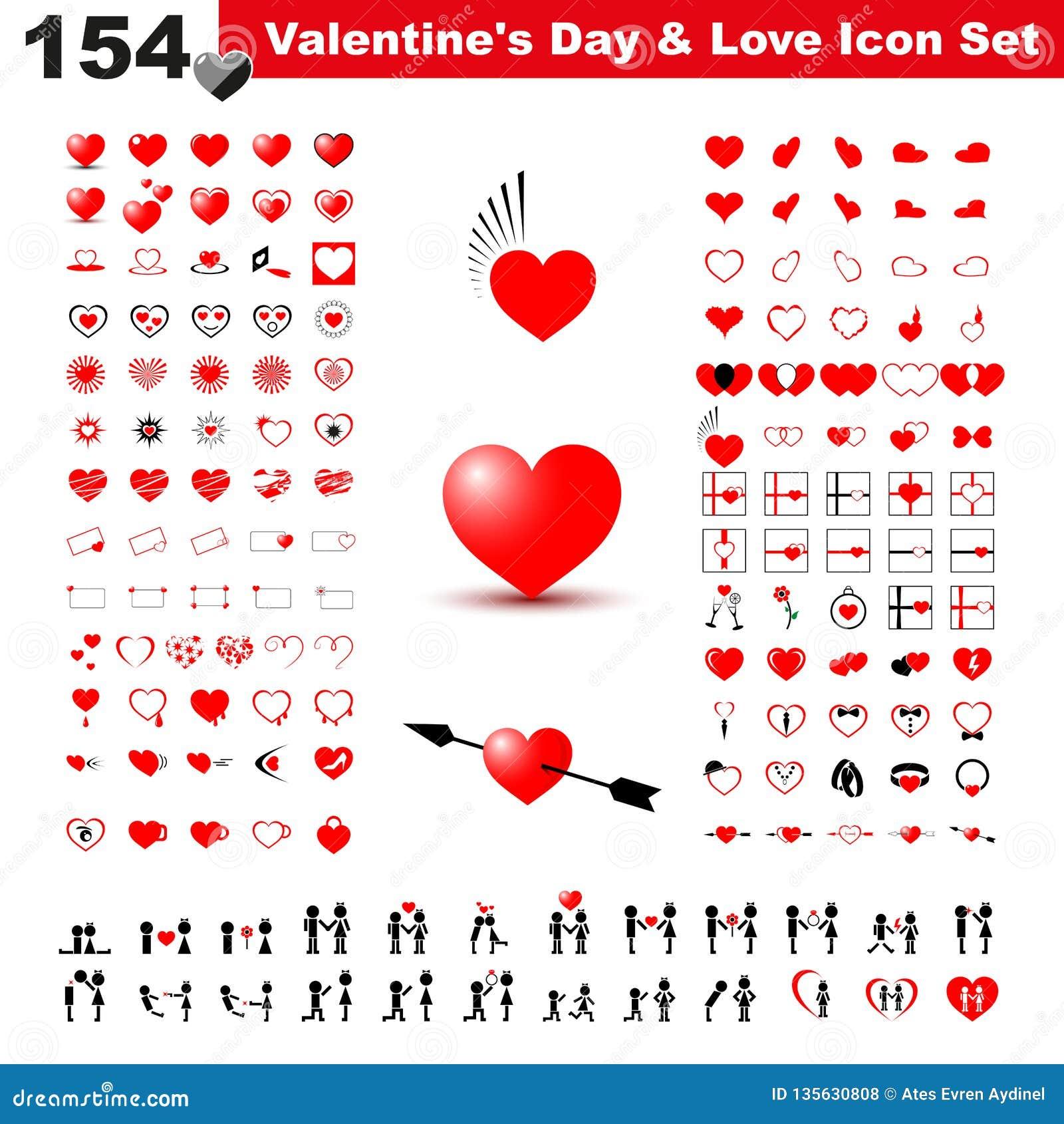 Valentin packe för dag-, gåva-, förälskelse- och hjärtasymbol