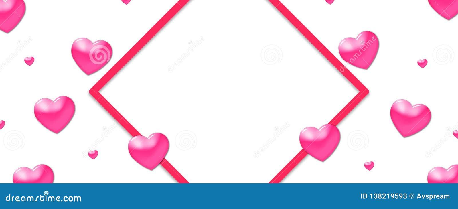 Valentin planlägger, färgrika hjärtor på vit bakgrund med gränsen och kopieringsutrymme Valentin dag,