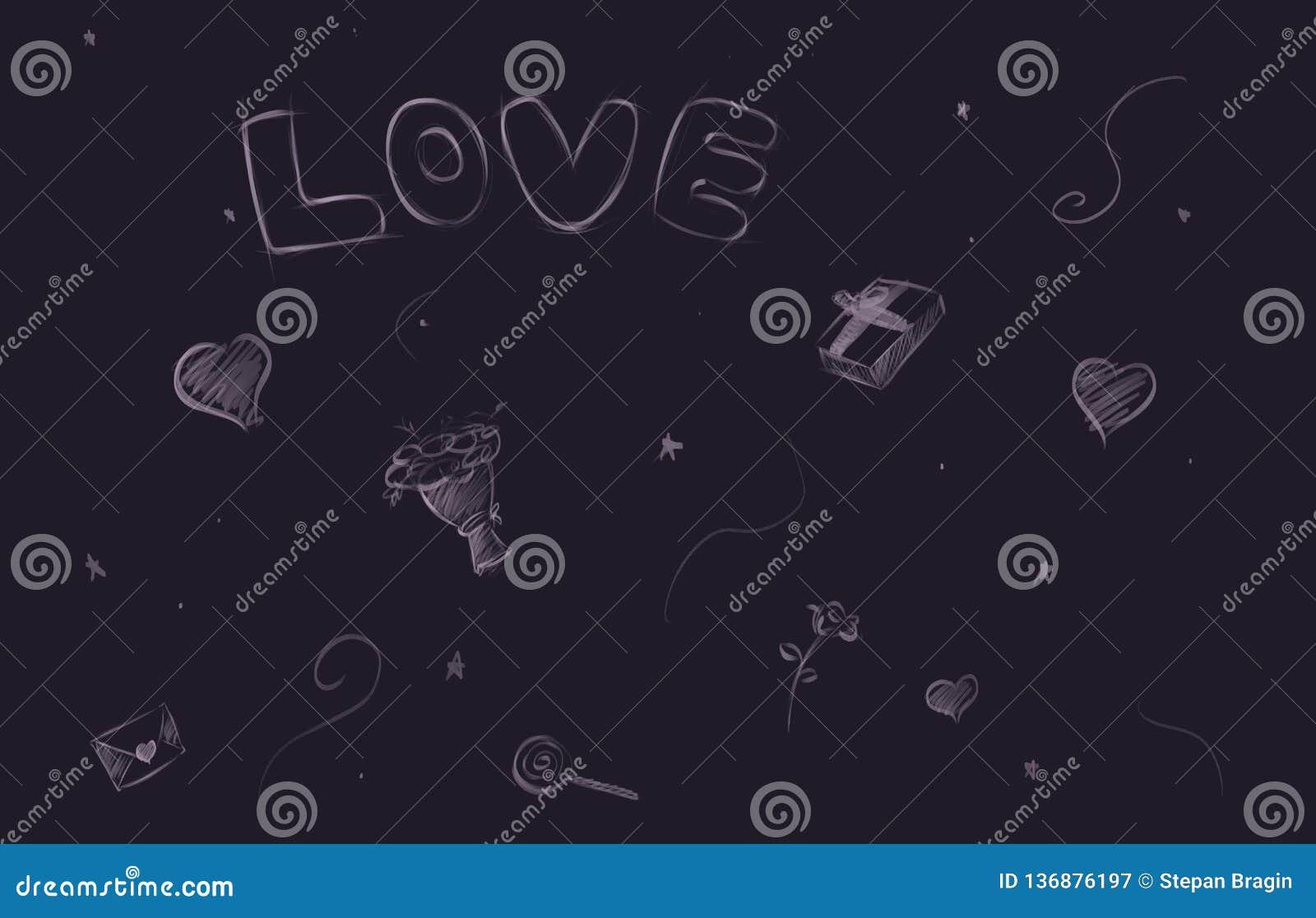 Valentin rutig förälskelsebakgrund med av hjärtor