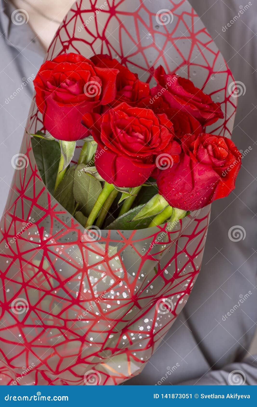 Valentindag eller förslag Ung lycklig stilig man som rymmer den stora gruppen av röda rosor i hans hand på grå bakgrund