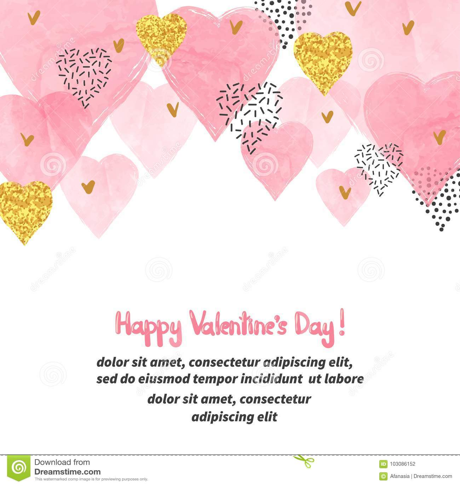Valentindagbakgrund med rosa hjärtor för vattenfärg och ställe för text