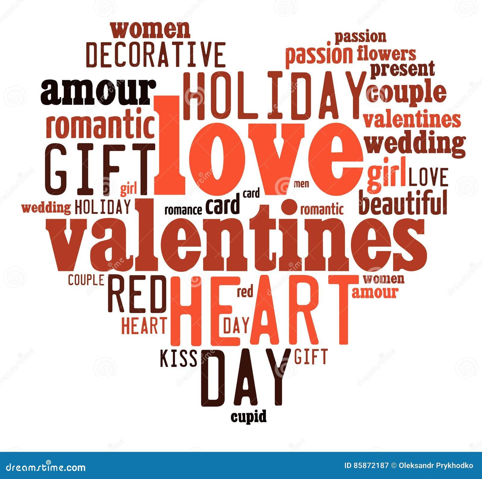 Valentindagbegrepp i ordetikettsmoln