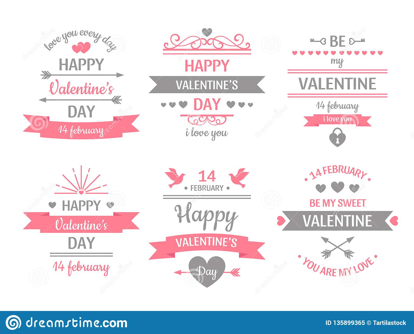 Valentindagetikett Baner för tappningvalentinkort, förälskelseram och retro illustration för vektor för kort för förälskelseönska