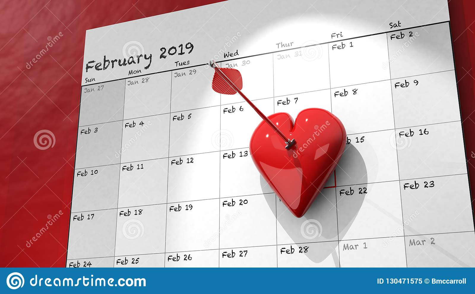 February Calendar 2019 Date 2019 Valentine's Day Calendar Stock Illustration   Illustration of