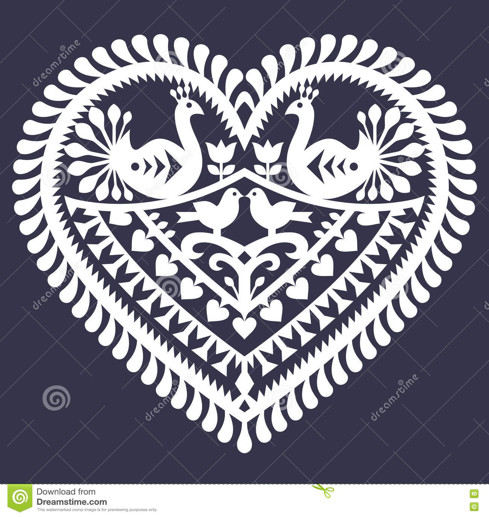 Valentine&的x27民间心脏样式; s天- Wycinanki Kurpiowskie & x28; Kurpie Papercuts& x29;