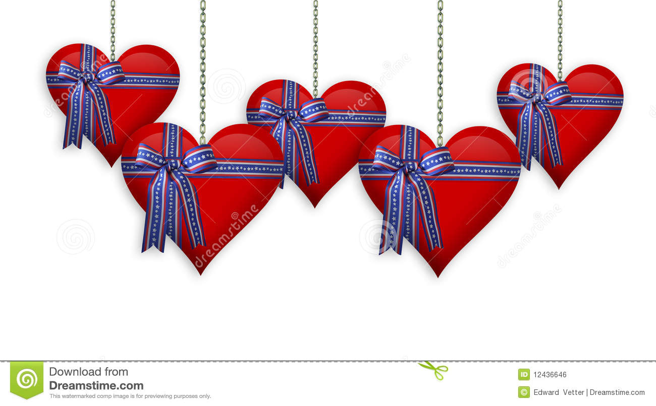 Valentine Or 4th Of July Hearts Border Royalty Free Stock