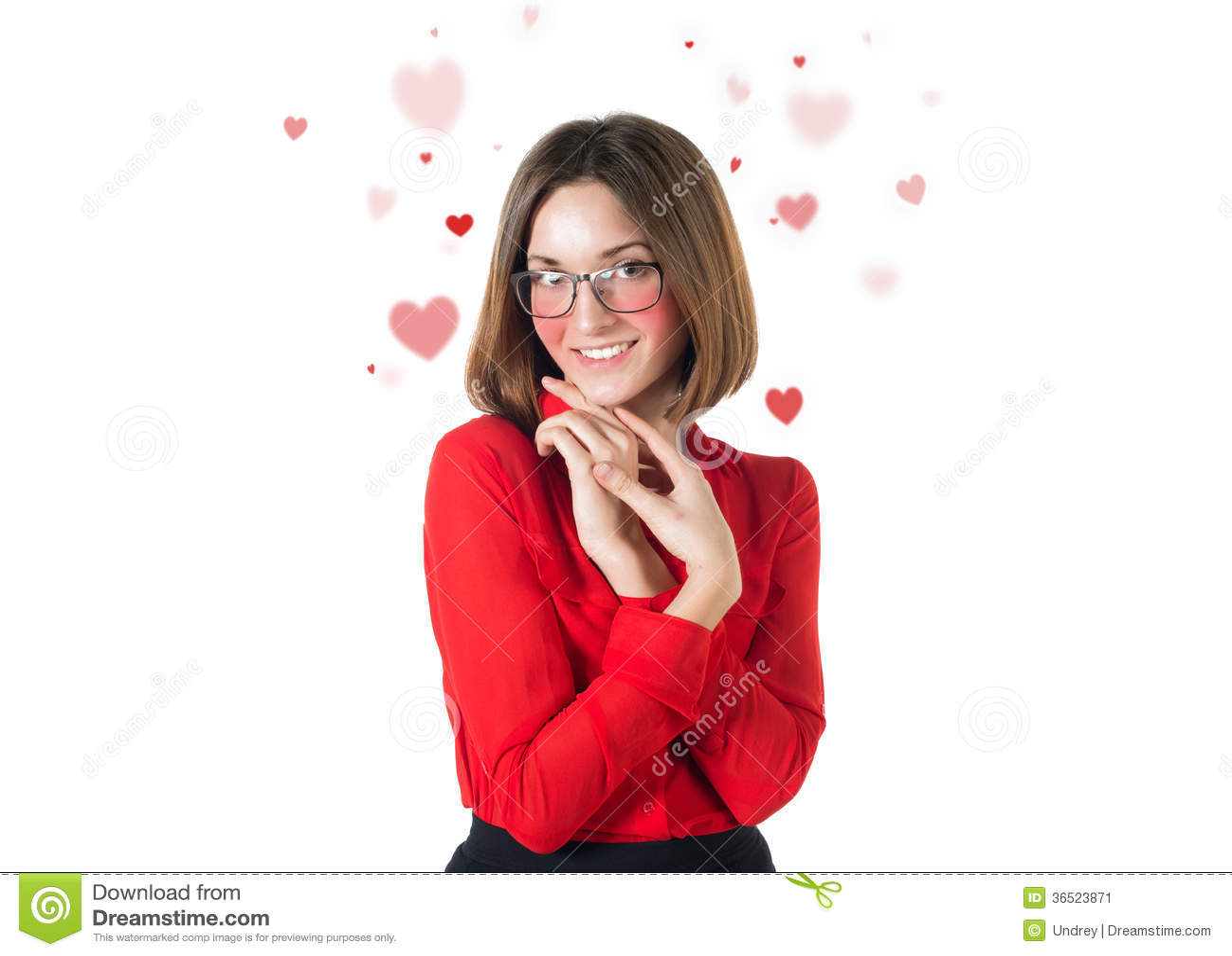 Valentine attirante de coeurs d amour de femme d isolement dessus