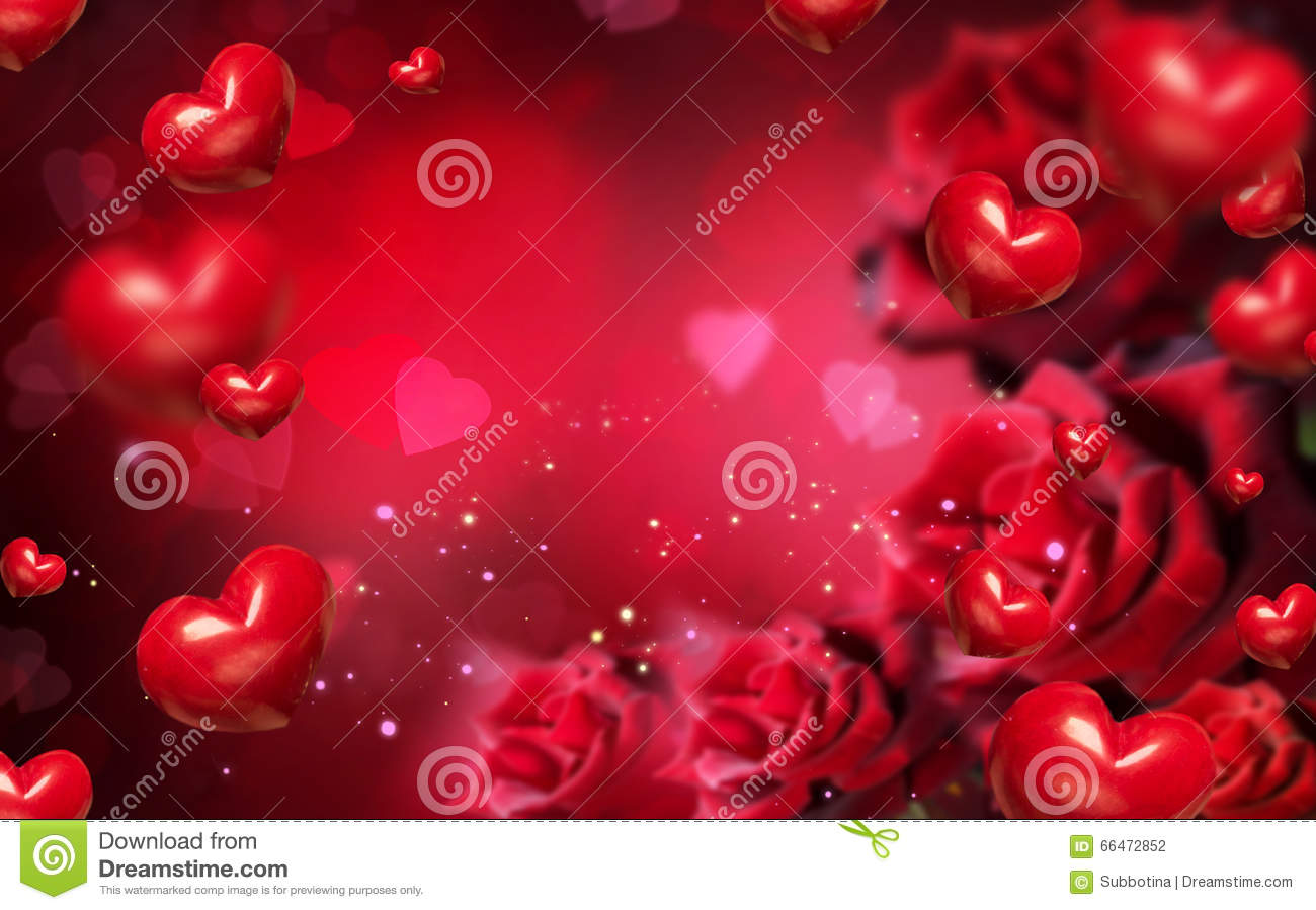 Valentine Background With Red Hearts And Roses Stock Photo ...