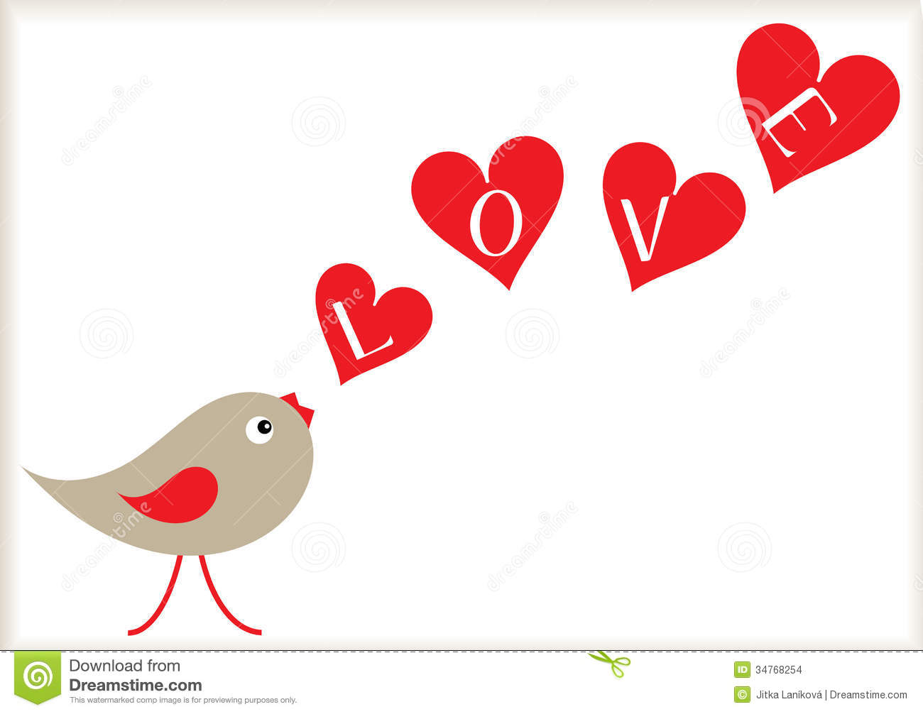 Valentine Bird And Hearts Background Stock Images - Image ...