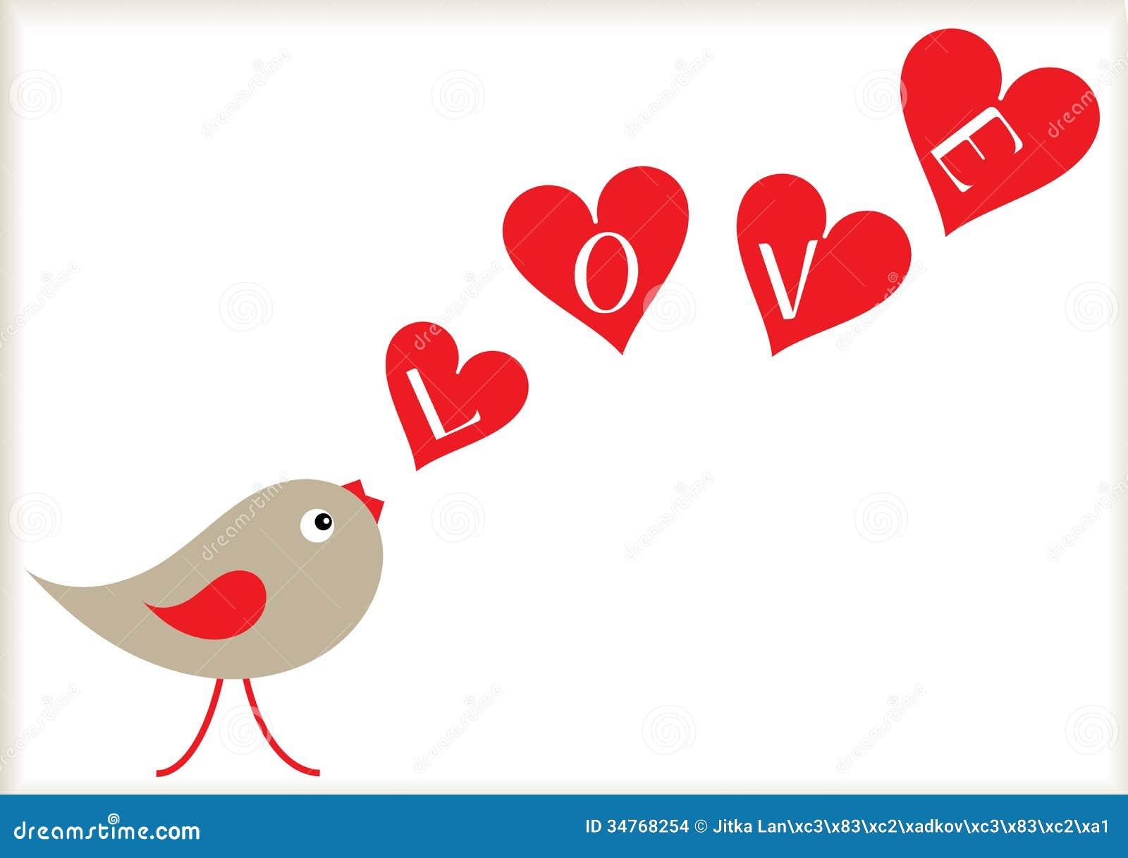Valentine Bird And Hearts Background Images Image 34768254 – Bird Valentine Card