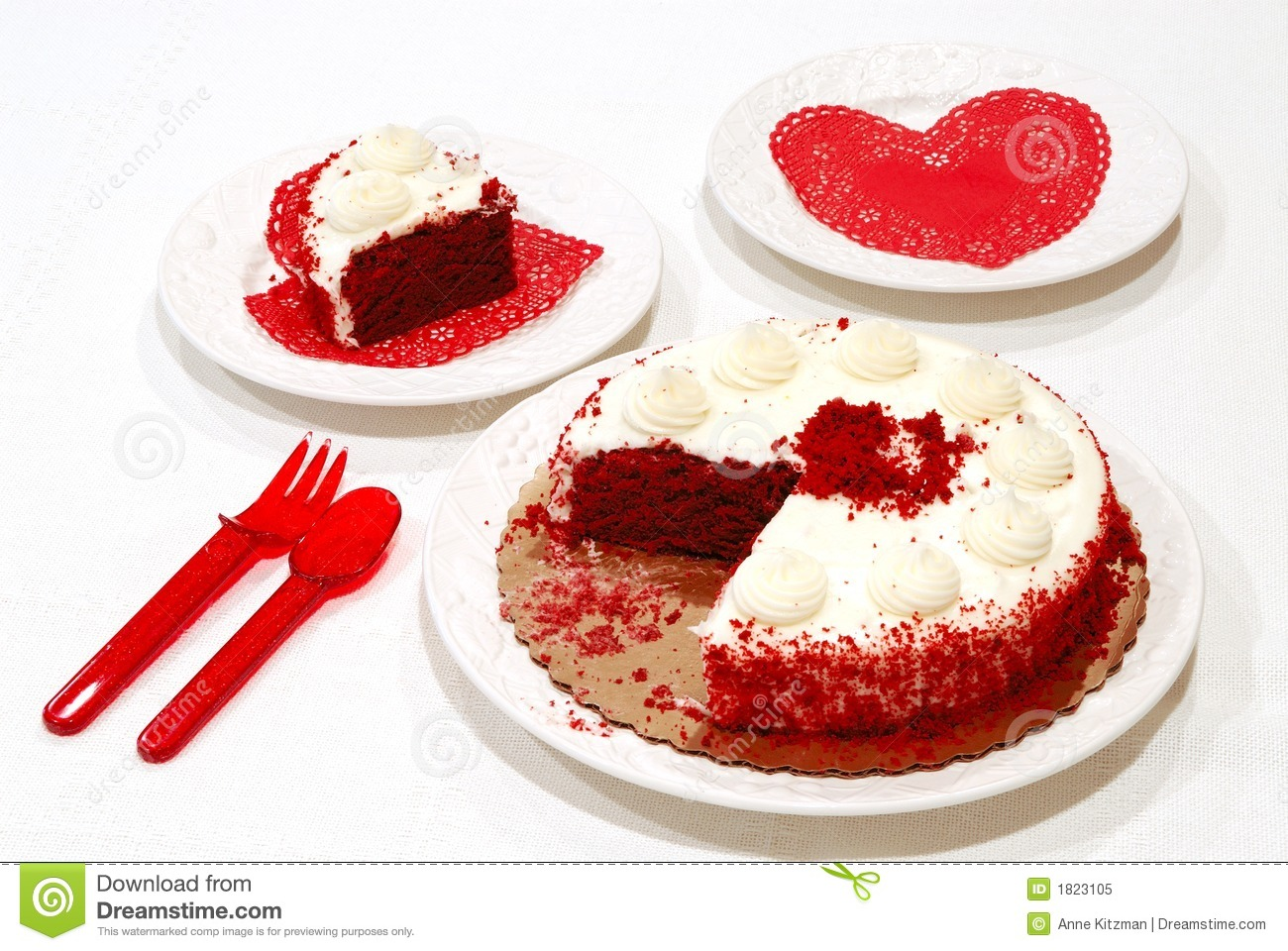 Valentine Birthday Cake - Valentine birthday cake and a slice on a ...