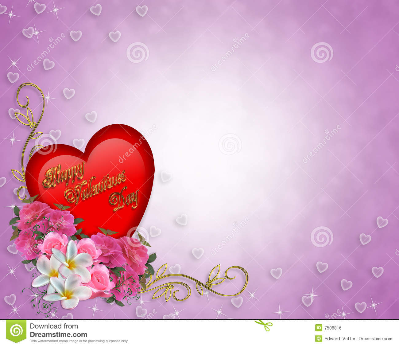 Valentine Border Heart And Flowers Royalty Free Stock