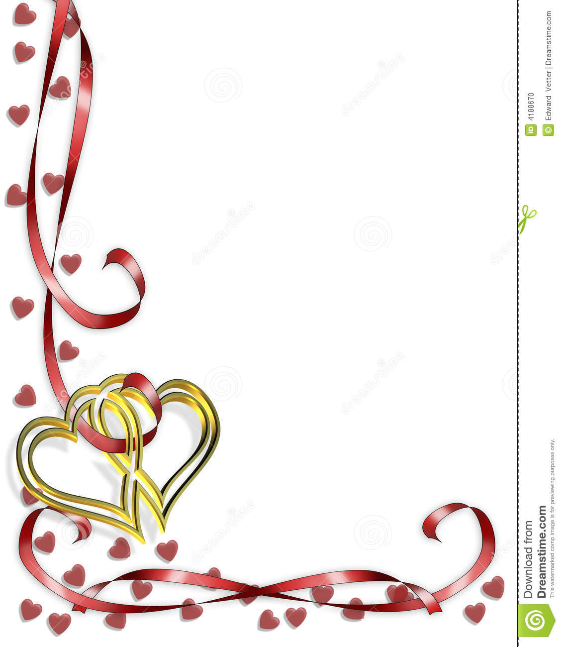 Corner design element for Valentine border or wedding background ...