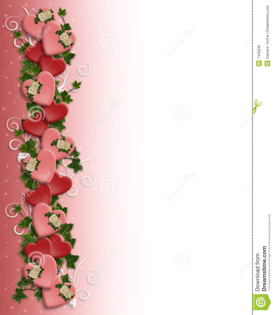 Valentine Border Hearts Flowers Stock Illustration
