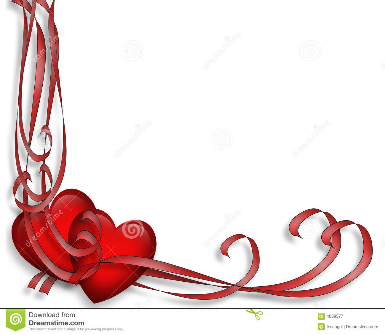 Valentine Border Hearts And Ribbons Royalty Free Stock Photography ...