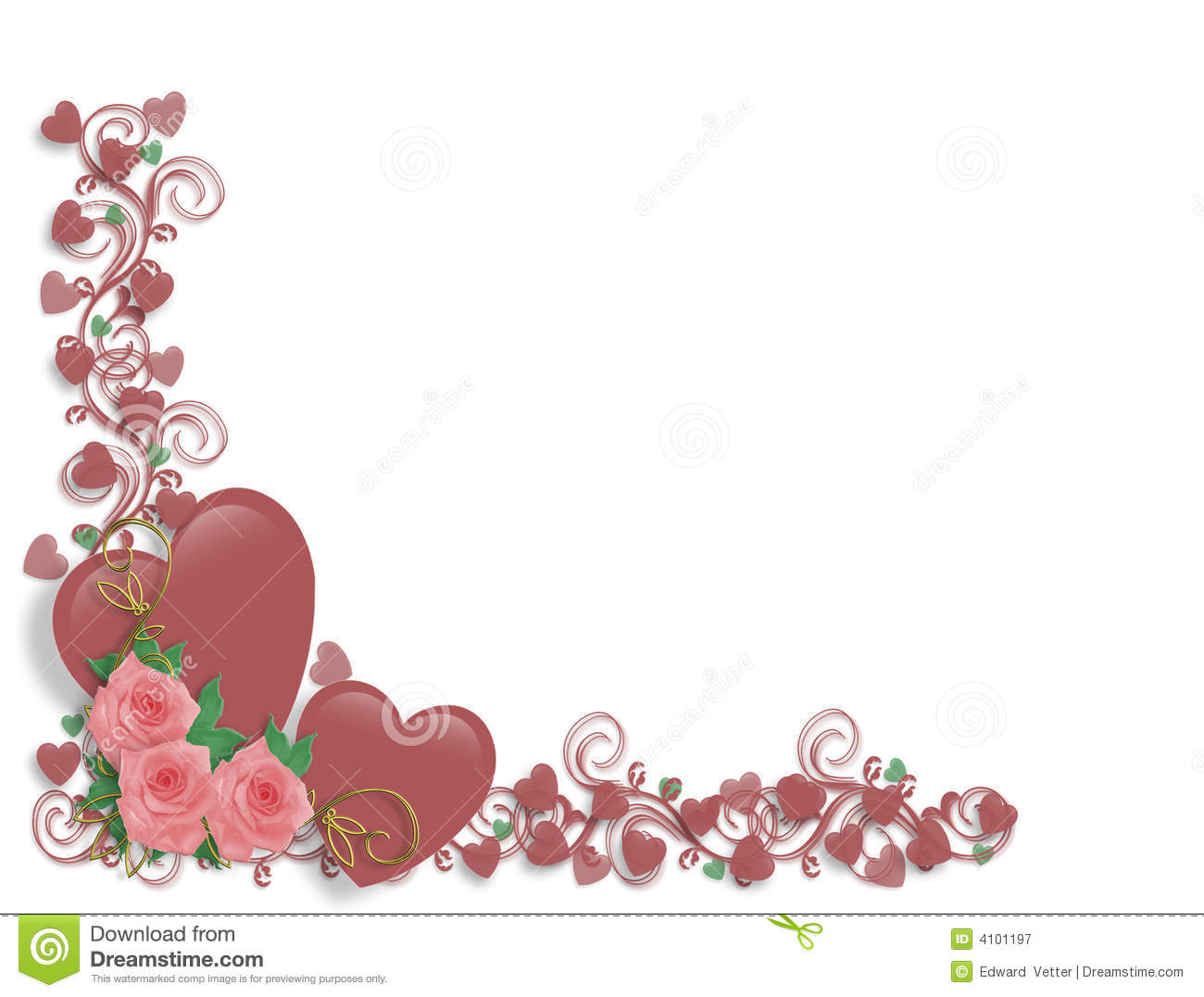 Valentine Border Pink Hearts and Roses