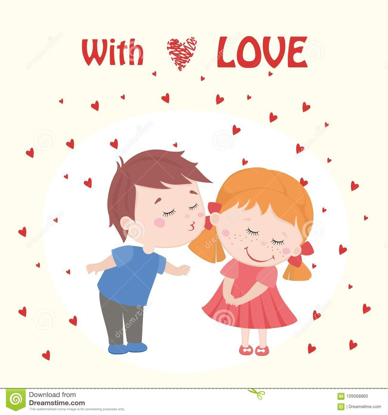 Valentine Boy And Girl In Love Cartoon Kids Stock Vector
