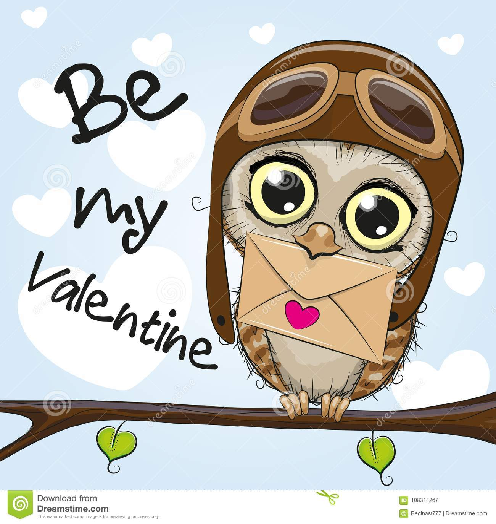 Valentine card with cute cartoon Owl