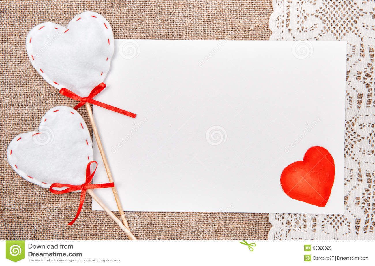 Valentine Card With Drawing Red Heart On Lace Royalty Free