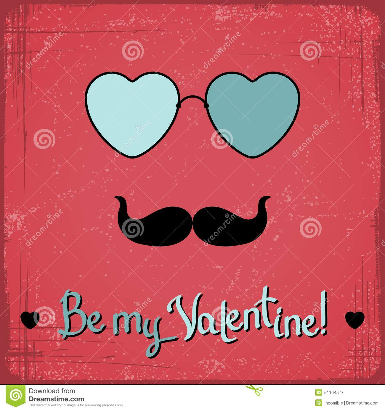 Valentine Card With Glasses Heart And Mustache Vector – Mustache Valentine Cards