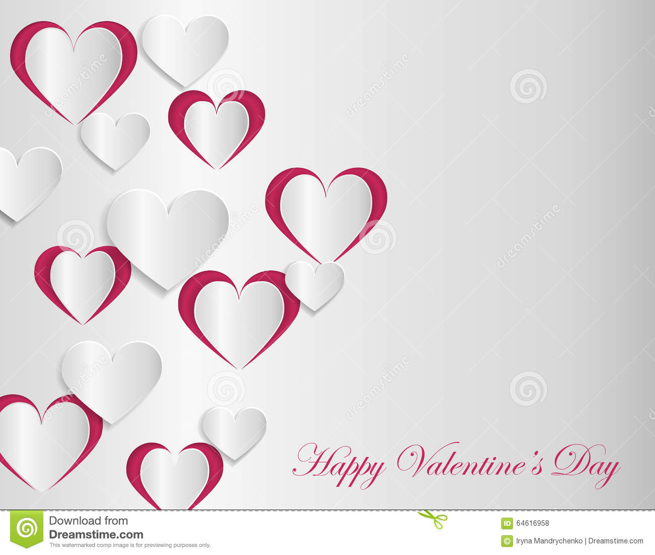 Valentine Card Template With Cut Paper Hearts Stock Vector