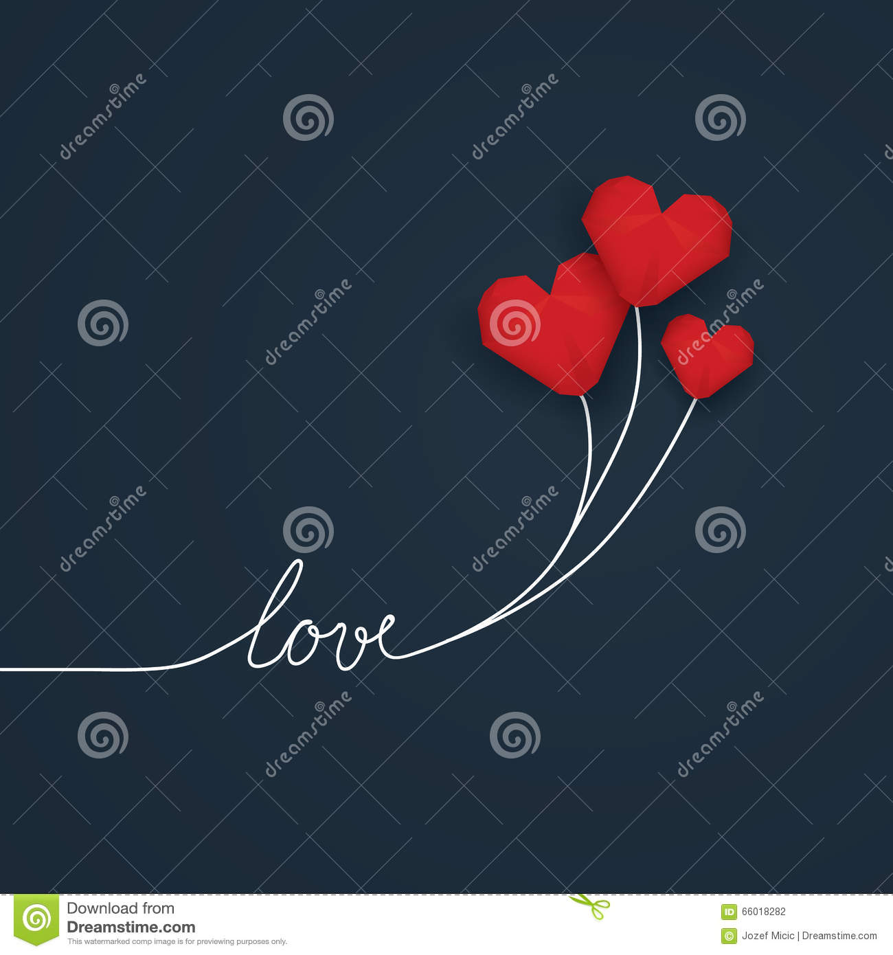 Valentine Card Template With Handwritten Word Love And Red Low Poly D Flying Balloons On White String
