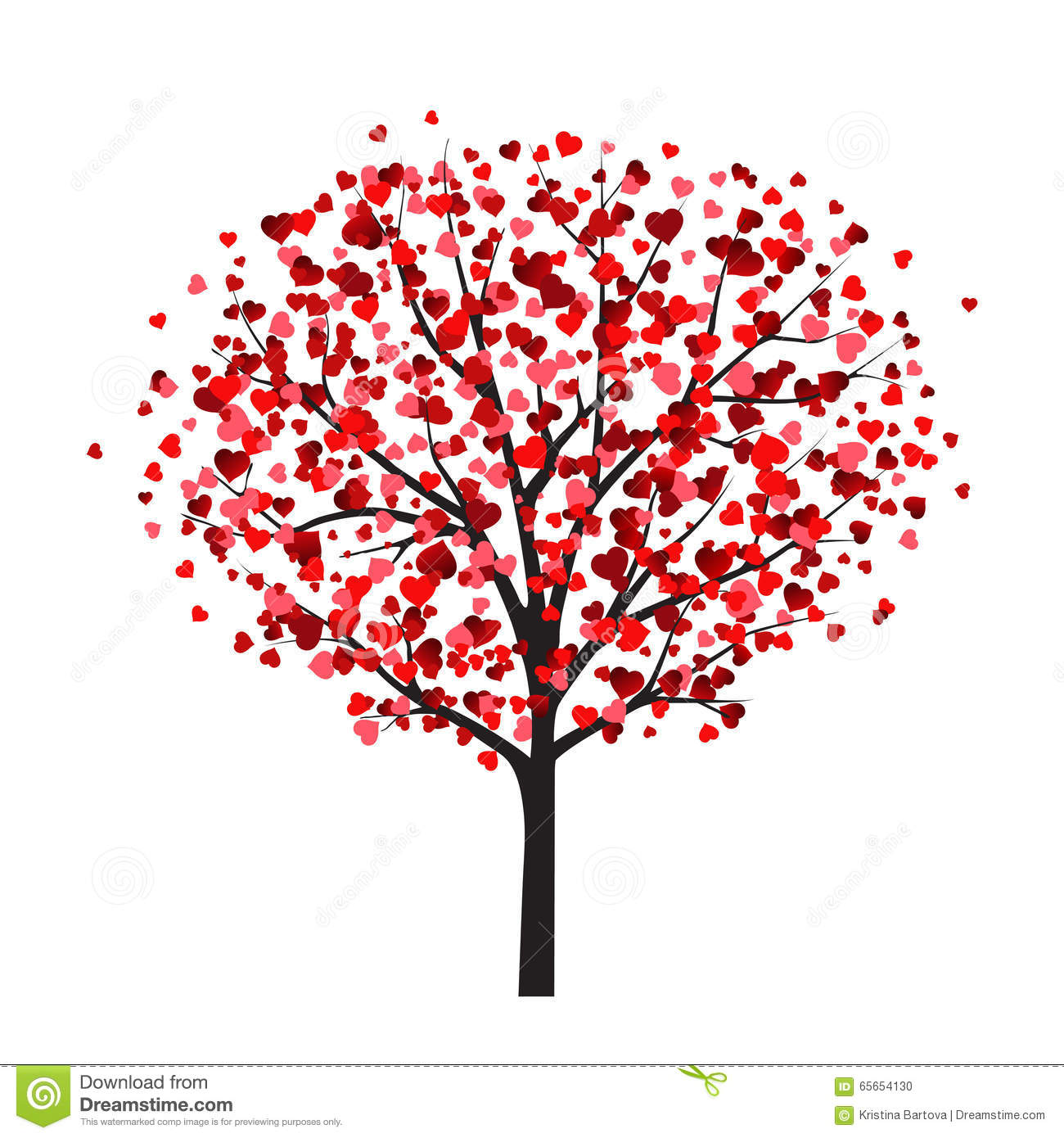 valentine card template with tree with heart shaped leaves stock