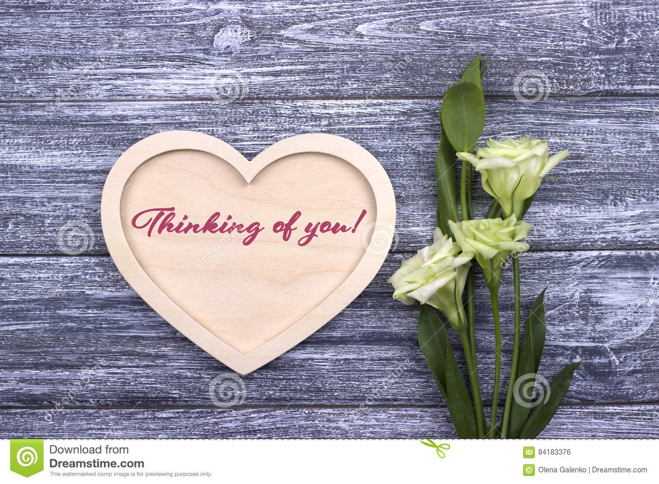 Valentine card with text Thinking of you