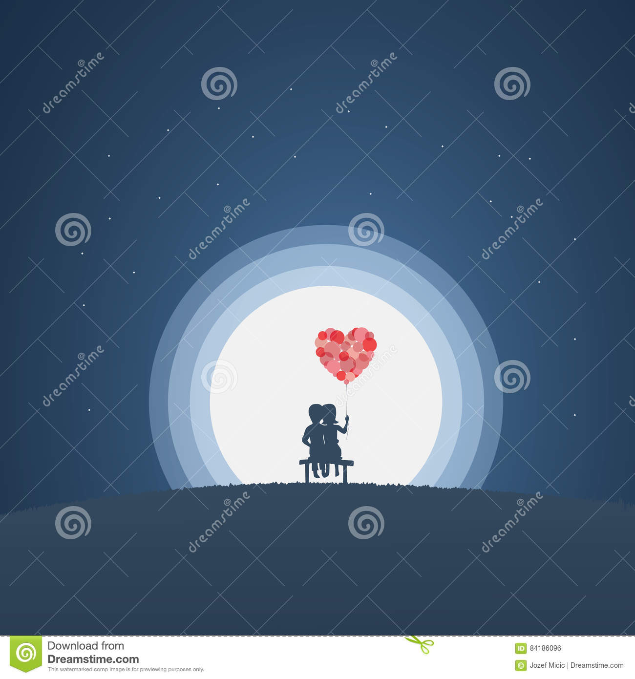 Kids at night with moon royalty free stock photography image - Valentine Card Vector Illustration Template With Cute Couple Sitting On A Bench At Night In Moonlight