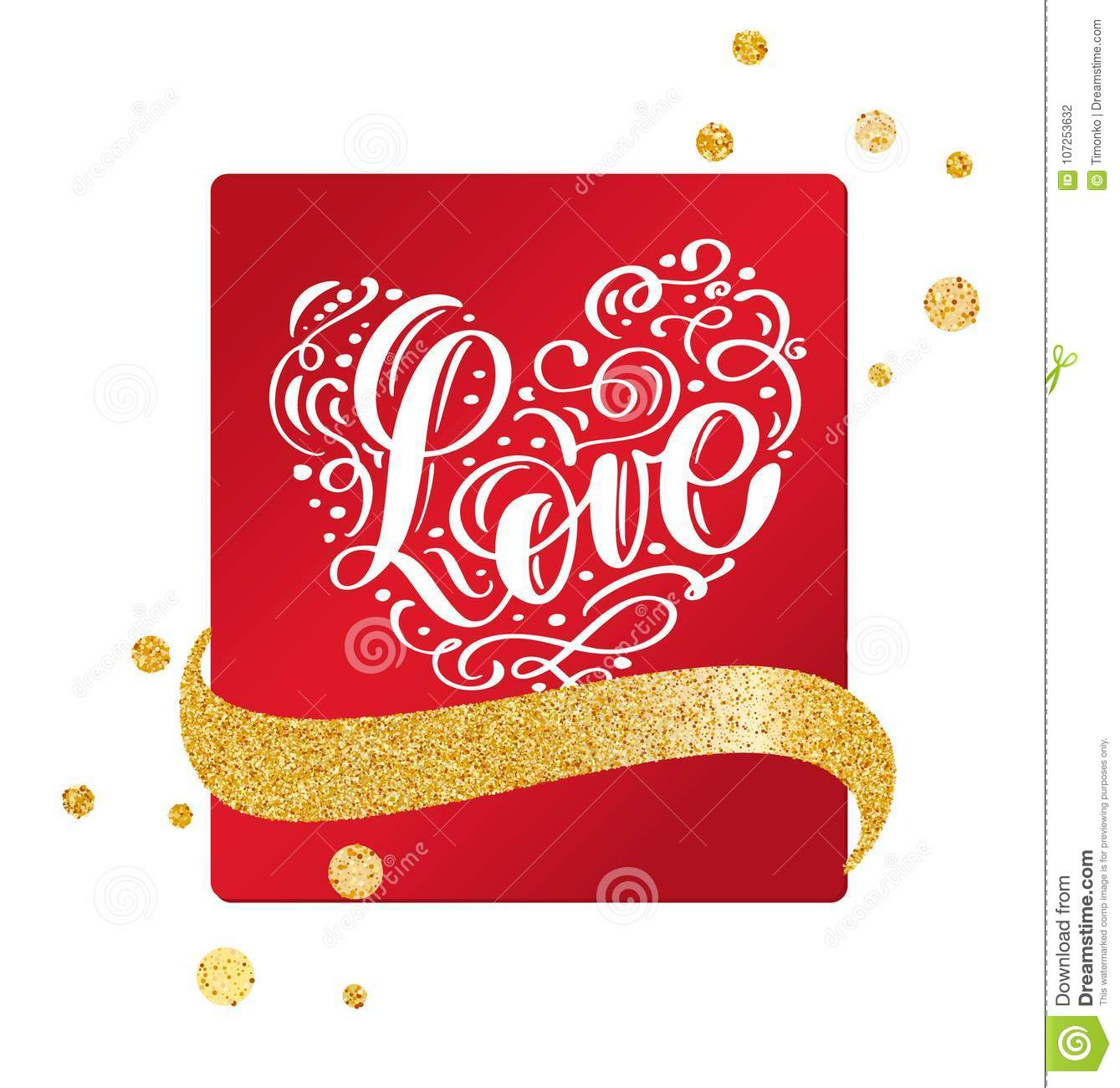 Valentine Card With Vintage Heart And Handwriting Lettering Love