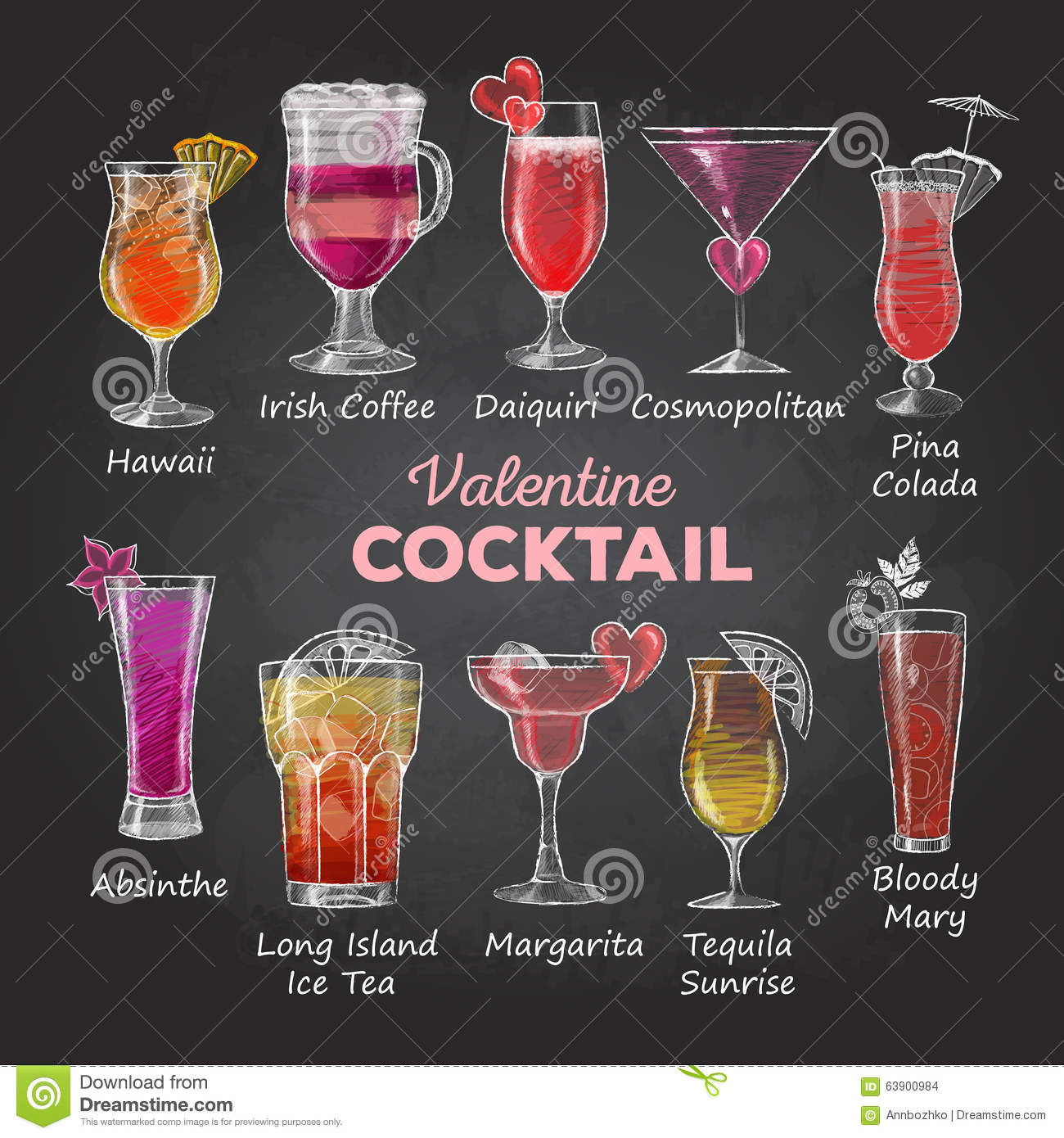 Valentine cocktail menu